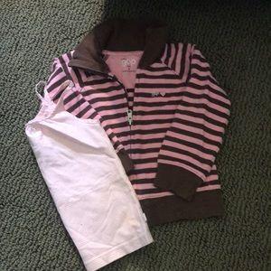 GapKids Zip- up sweatshirt & pinstriped tank top